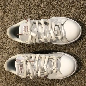 Woman's 7.5 rose gold and white adidas